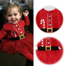 Baby Girl Christmas Santa Claus Costume Long Sleeve Tulle Dress Outfits Cloth UK