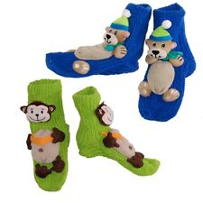 Kids Slippers Girls Knitted Teddy Bear Socks Monkey Booties Winter Size 6 7 8