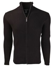 Marquis Men's Black Full Zip Ribbed Mock Turtleneck 100% Cotton Cardigan