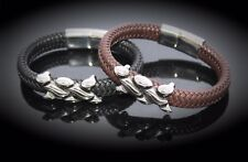 Wide Braid Leather Bracelet with Interwoven Design