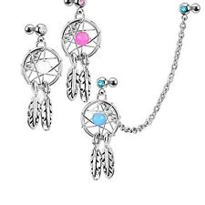 HK- Dream Catcher Helix Tragus Cuff Ear Piercing Cartilage Stud Dangle Earring S