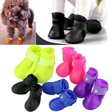 HK- 4Pcs Lovely Waterproof Anti-Slip Rain Boots Shoes for Cat Dog Puppy Pet Hand