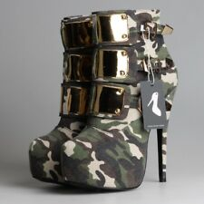 SELL OFF Womens Platform High Heels Camouflage Ankle Boots Pumps Stiletto Shoes