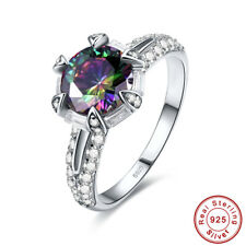 Dazzling Round Cut Rainbow & White Topaz 925 Sterling Silver Ring Size 6 7 8 9
