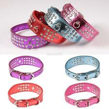 Spiked Studded Rivet Leather Dog Pet Puppy Collar Synthetic Leather S/L/XS E456