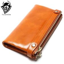 Women Wallets Genuine Leather  Medium-Long Organizer Wallet Oil Wax Cowhide:
