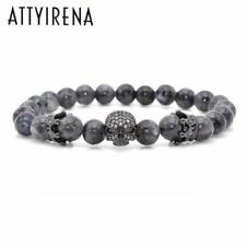 Men CZ Skull Charm Bracelets India Labradorite 8mm Natural Stone Light Beads Eur