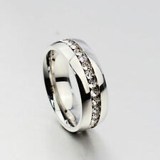 Womens Mens Stainless Steel Ring Wedding CZ Jewelry Free Shipping