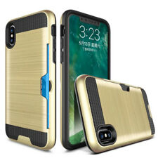 For iPhone X 10 7 Hybrid Anti-knock Card Holder ID Silicone PC Armor Covers Case