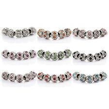 10pcs Silver plated crystal love charm beads Fit bracelets chain making jewelry