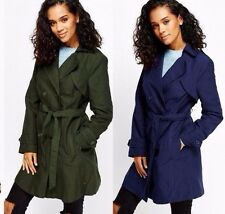 Ladies Double Breasted Trench Mac Coat Fashion Belted Jacket UK 8 , 10