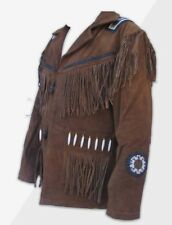 Mens Western Beaded & Fringed Leather Suede Cowboy Indian Jacket BrownTan144