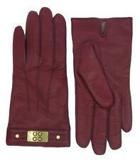 COACH Cashmere Lined Winter Gloves Womens Cranberry Red Leather Logo F82045