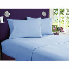 SKY BLUE SOLID 1000 TC EGYPTIAN COTTON BED DUVET SET/FITTED SHEET/SHEET SET