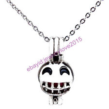 HY-K476 Silver 22mm Face Emoji Grin Smile Necklace Enamel Beads Cage Fit 5-8mm