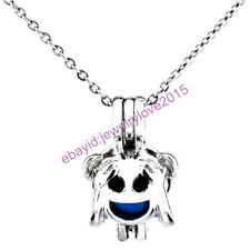 HY-K471 Silver 22mm Face Emoji Enamel Kid Girls Necklace Beads Cage Fit 5-8mm