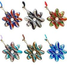 Silver Foil Flower Handmade Lampwork Glass Murano Bead Pendant Ribbon Necklace