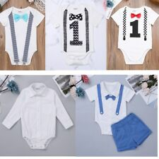 Infant Kid Baby Boys Bow Tie Suspender Romper Cotton Bodysuit Outfit Set Clothes