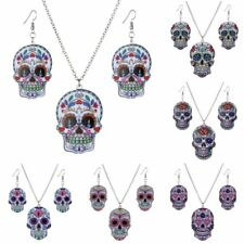 Women Fashion Printing Skull Head Pendant Necklace Earrings Jewelry Set Gift New