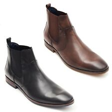 Mens Genuine Leather Traditional Chelsea Ankle Gusset Boots Black 6 to12 UK Size