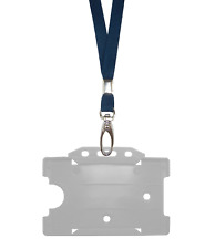 Dark Blue Navy ID Neck Strap Cord Clip Lanyard Clear Card Badge Tag Pass Holder