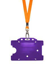 Orange ID Neck Strap Cord Clip Lanyard Purple Plastic Card Badge Tag Pass Holder