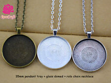 5kits 35mm Pendant Tray Blank Pendant Setting+Rolo Chain Necklace+Glass Domed