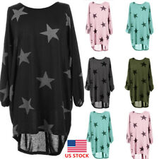 Plus Size Womens Long Sleeve Crew Neck Loose Party Dress Cocktail  Star Blouse