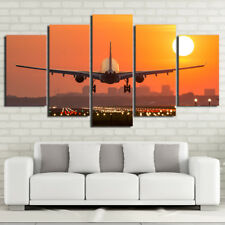 Airplane Sunset Paintings Poster Modern Picture Canvas Wall Art Home Decor