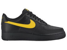 NEW MENS NIKE AIR FORCE 1 LOW BASKETBALL SHOES TRAINERS BLACK / AMARILLO
