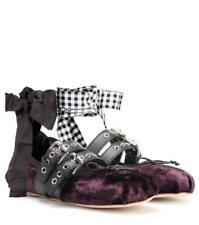 Miu Miu Velvet Velour Ribbon Ankle Tie Ballerina Ballet Flat Shoes Purple $670