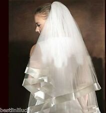 Wedding bridal Veil With Comb Edge Ribbon white ivory 2t Tulle Elbow Length New