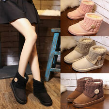 Womens Winter Warm Casual Slip On Suede Ankle Boots Flats Party Snow Boots Shoes