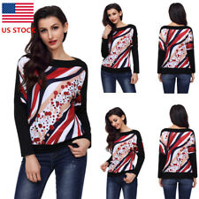 Womens Floral Long Sleeve Crew Neck Blouse Dot Party Cocktail Holiday Tops Shirt