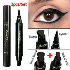 Lady Thin Thick Stamp Eyeliner Pen Double Head Black Stamp Kitten Eyeliner Tool
