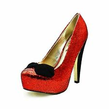 Red glittery round toe high heel party shoes with velvet bow