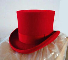 NEW Red 100% Wool  Victorian Mad Hatter Top Hat Adult New Small M,L,XL .