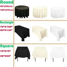 Plain Ivory Polyester Tablecloth Wedding Table Cloth Cover Round Rectangle White