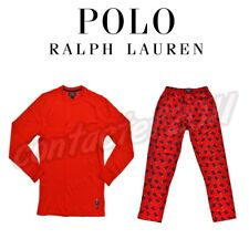 Polo Ralph Lauren BEAR Thermal Waffle Crew & Flannel Pant RED XL Pajama Set NWT!