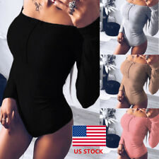 Womens Long Sleeve Off Shoulder Party Bodysuit Cocktail Casual Club Romper Tops