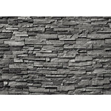 "Fleece Photo Wallpaper ""Noble Stone wall - anthracite - ENDLESS - stacking"" !"