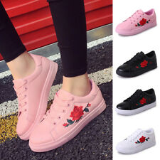 New Women's Fashion Leather Rose Flower Casual Lace Up Sneakers Trainer Shoes