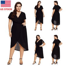 Plus Size Womens V Neck Short Sleeve Party Dress Swing Prom Cocktail Sundress