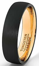 Black Tungsten Ring 6mm Wedding Band Brushed Dome Rose Gold Comfort Fit