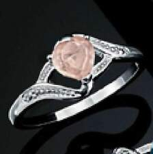 Sterling Silver Rose Quartz Heart Avon Silver 925 Ring Size 10