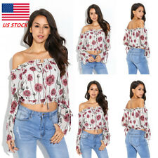 Womens Floral Boho Style Off Shoulder Blouse Long Sleeve Prom Party Tunic Tops