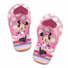 NWT Disney Store Minnie Mouse Pink Flip Flops Sandals Shoes Girls 9/10,11/12