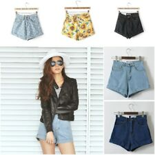 Vintage High Waist Cuffed Jeans Shorts Euro Style Women Street Wear Sexy Denim