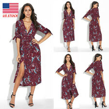 Women Floral V Neck Party Sundress 3/4 Sleeve Bandage Split Tunic Cocktail Dress