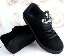 Womens Black Casual Sneakers Flat Lace Up Pumps Ladies Comfy Trainers Shoes Size